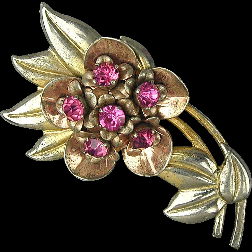 Flower Pins  Vintage 1930s Sterling Silver Rhinestone Flower Pin Brooch