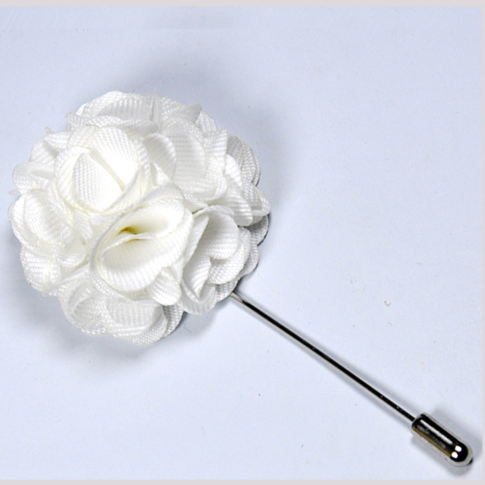 Flower Pins  Stylish White Flower Lapel Pin for Mens Andre Emilio