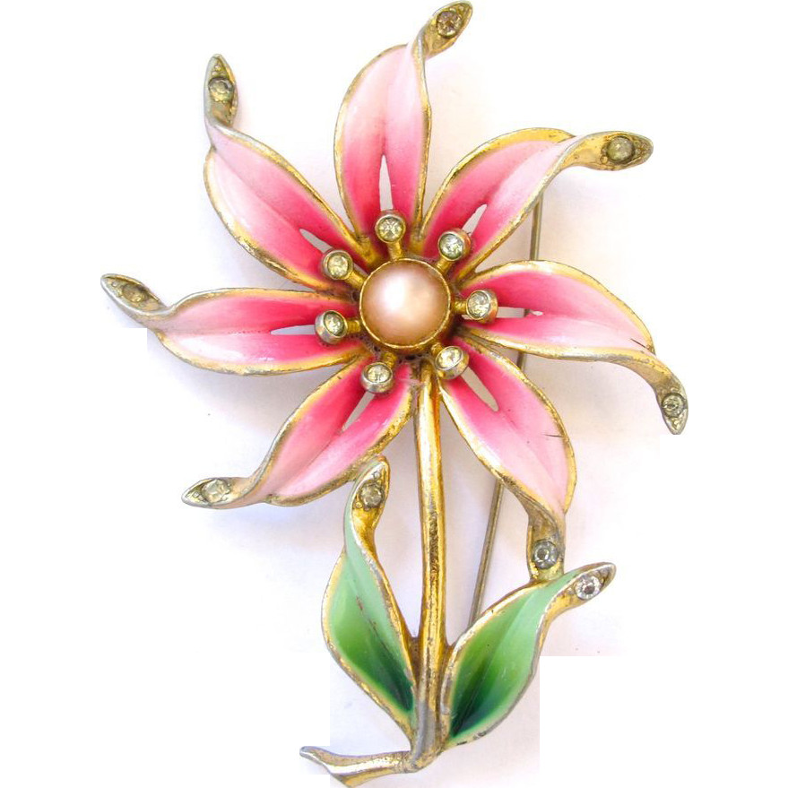 Flower Pins  Older Vintage Coro Pink Enamel Flower Brooch from