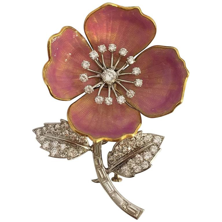 "Flower Pins  Boucheron Enamel Diamond Gold Platinum ""Eglantine"" Flower"