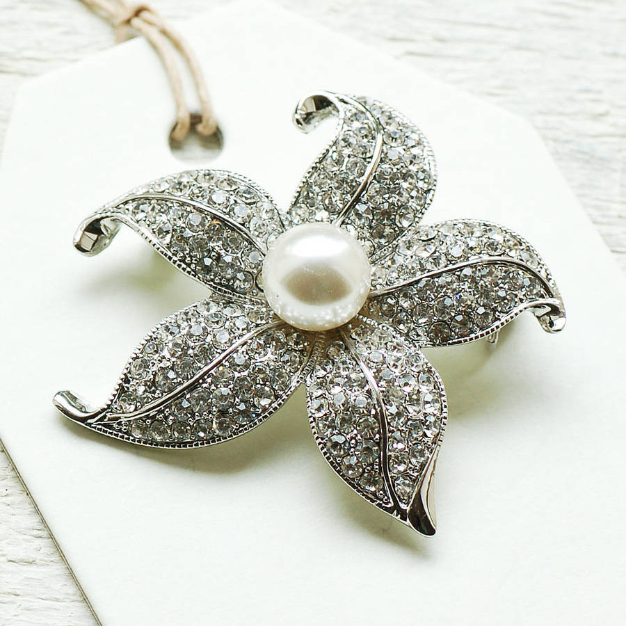 Flower Pins  Vintage Style Pearl Flower Brooch By Highland Angel