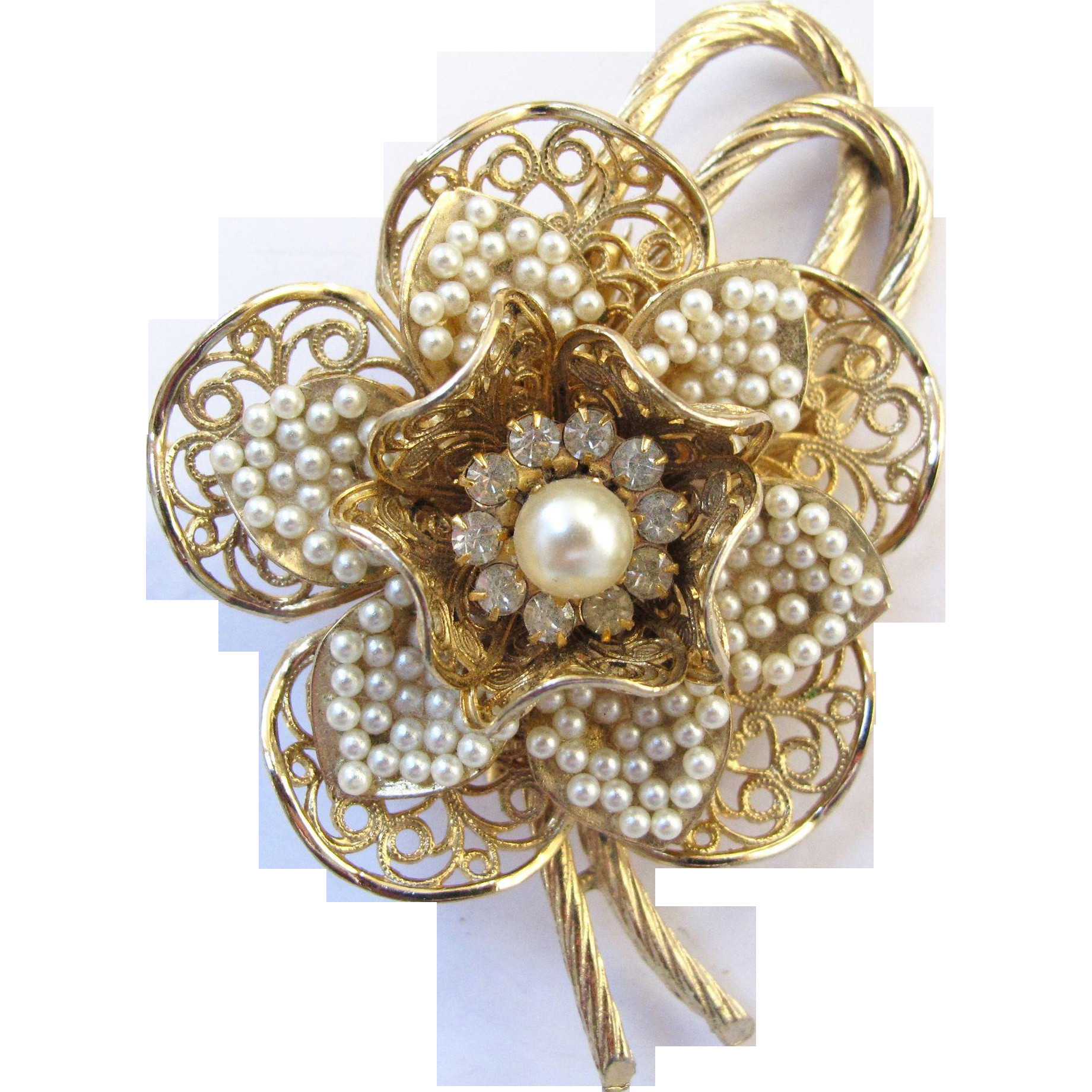 Flower Pins  Vintage Coro Faux Seed Pearl Flower Brooch Book Piece