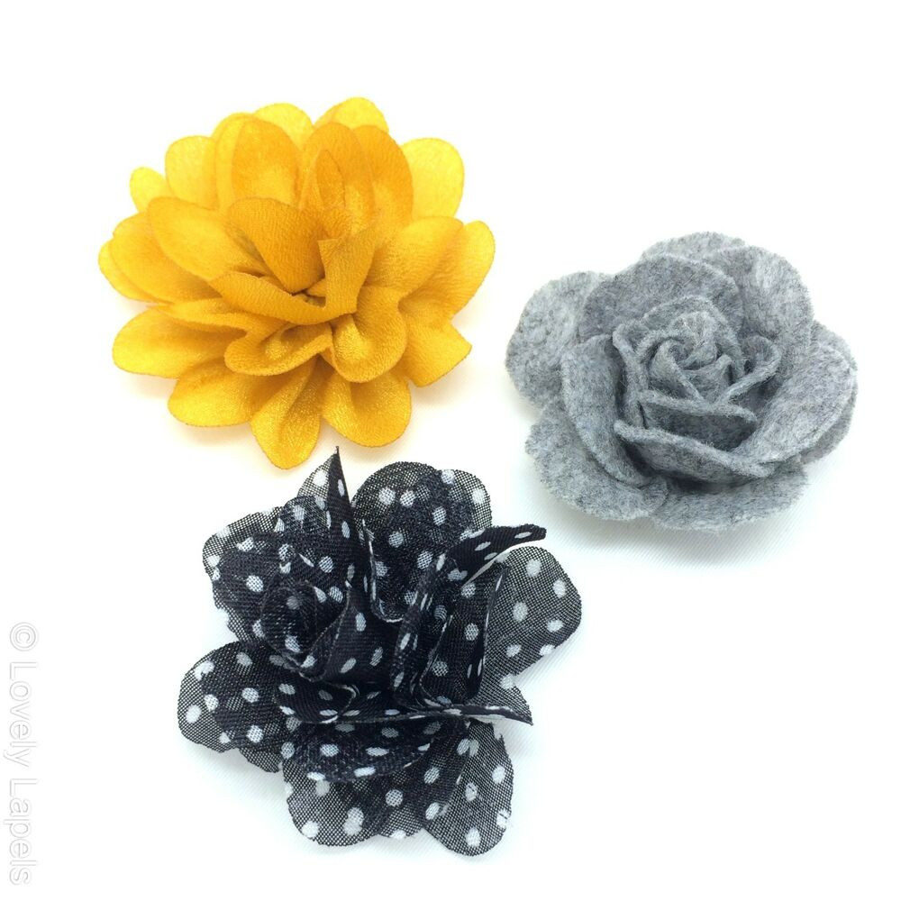 Flower Pins  3 FOR $25 MIX AND MATCH Handmade Flower Lapel Pins Lovely