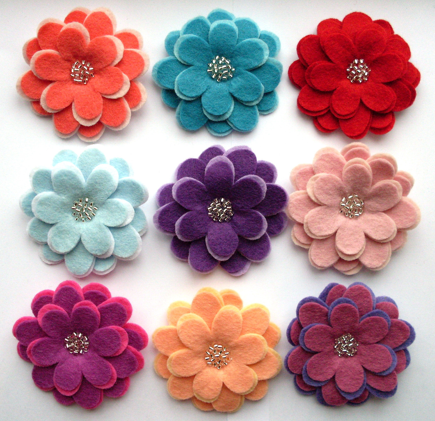 Flower Pins  Beaded Flower Brooches
