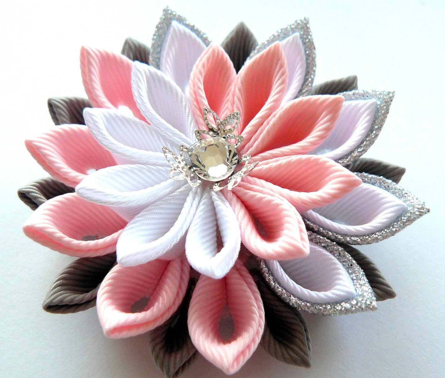 Flower Pins  Kanzashi fabric flower brooch Pink white grey and silver
