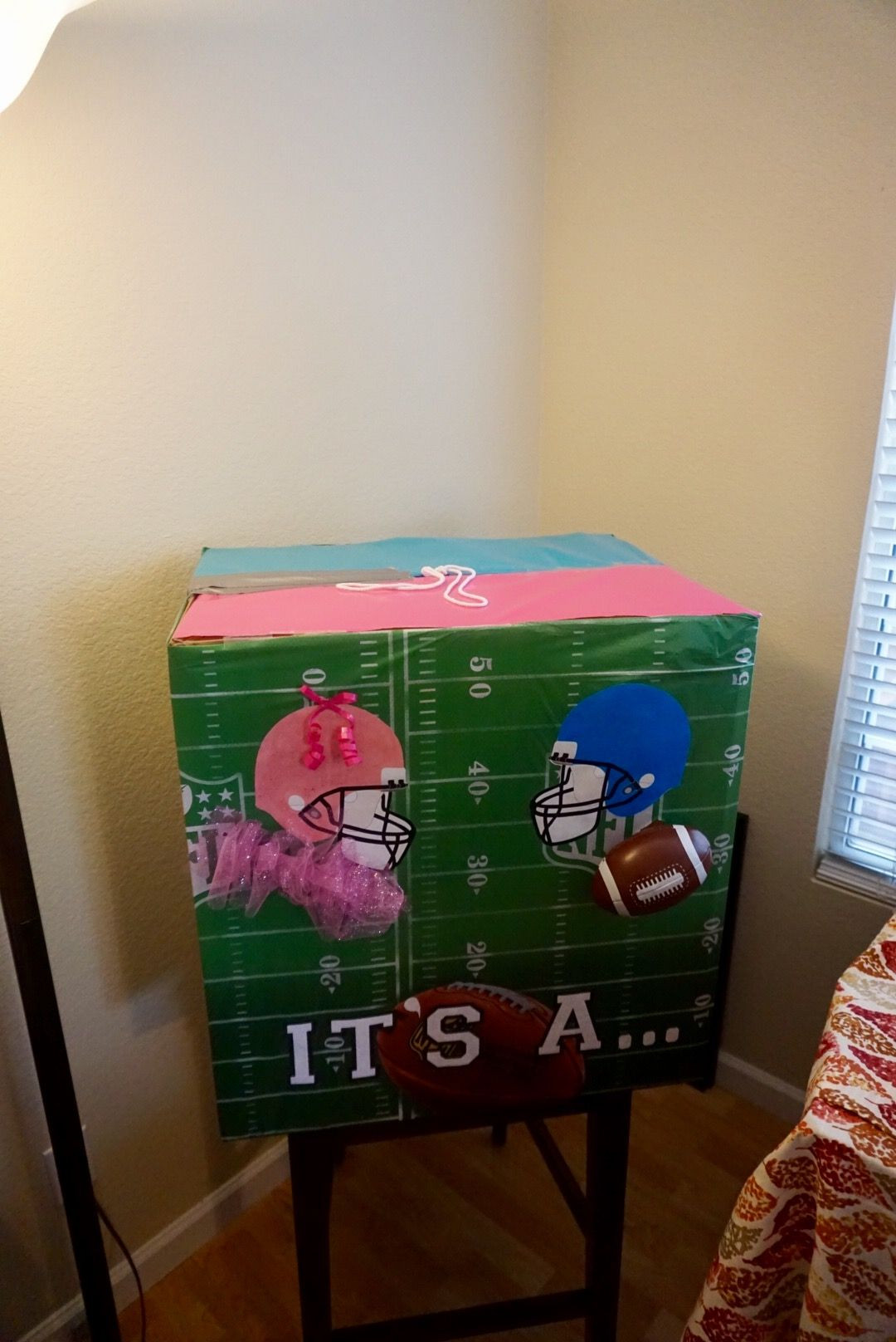 Football Themed Gender Reveal Party Ideas  Football themed gender reveal box