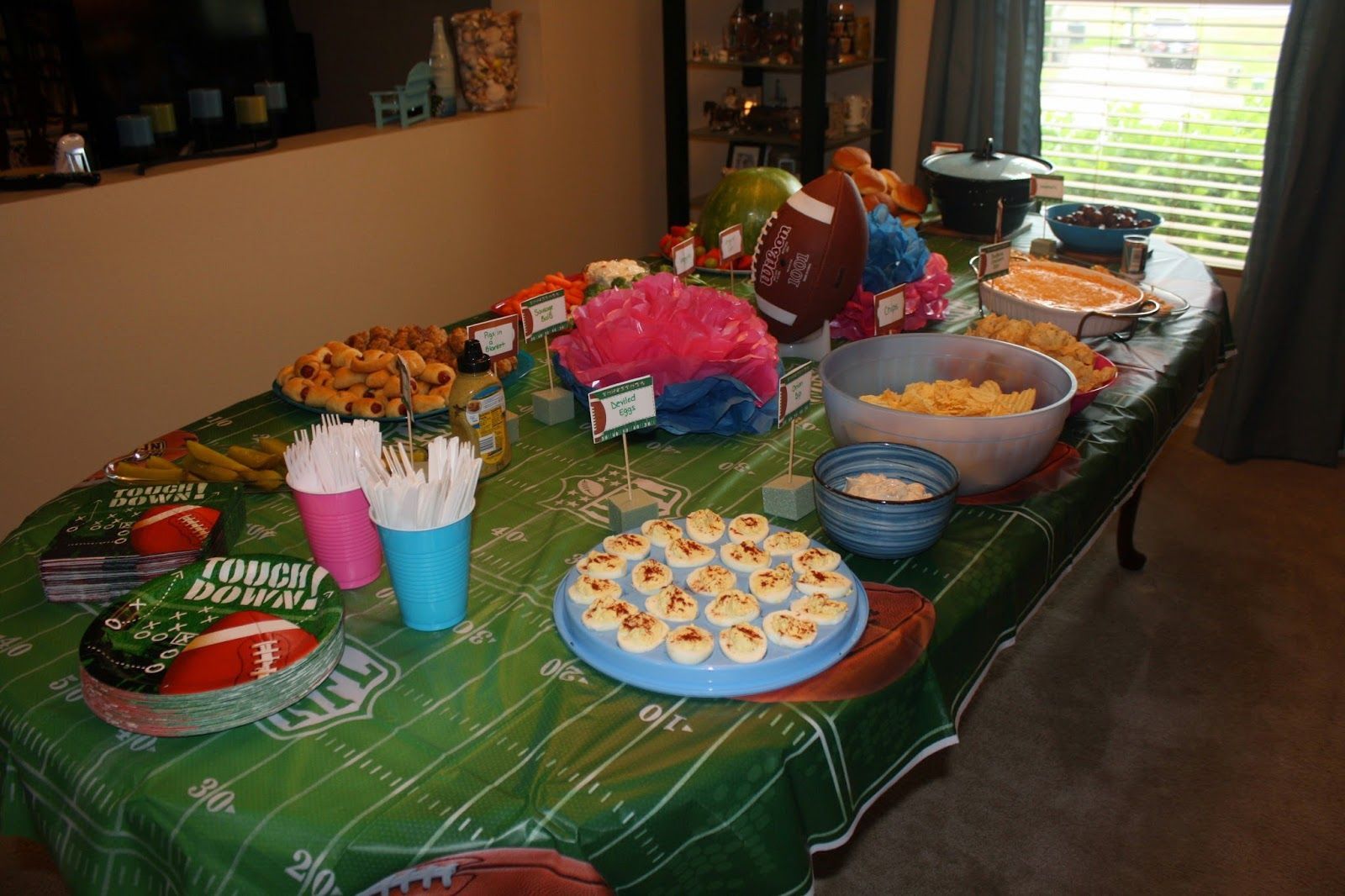 Football Themed Gender Reveal Party Ideas  Touchdown Team BLUE
