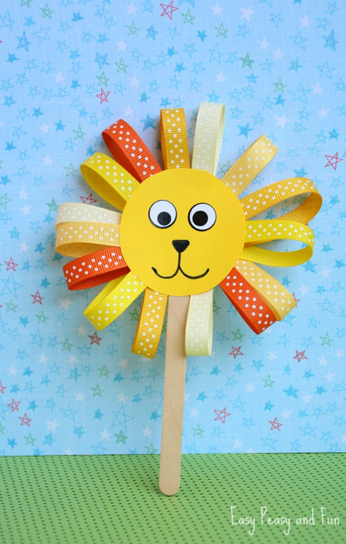 Fun Crafts For Preschoolers  Ribbon Lion Puppet Craft Lion Crafts for Kids Easy