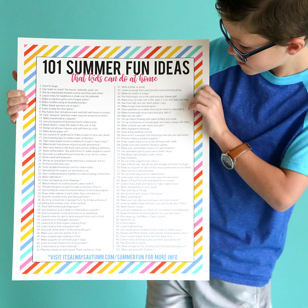 Fun Ideas For Kids  101 awesome summer activities for kids they can do at home