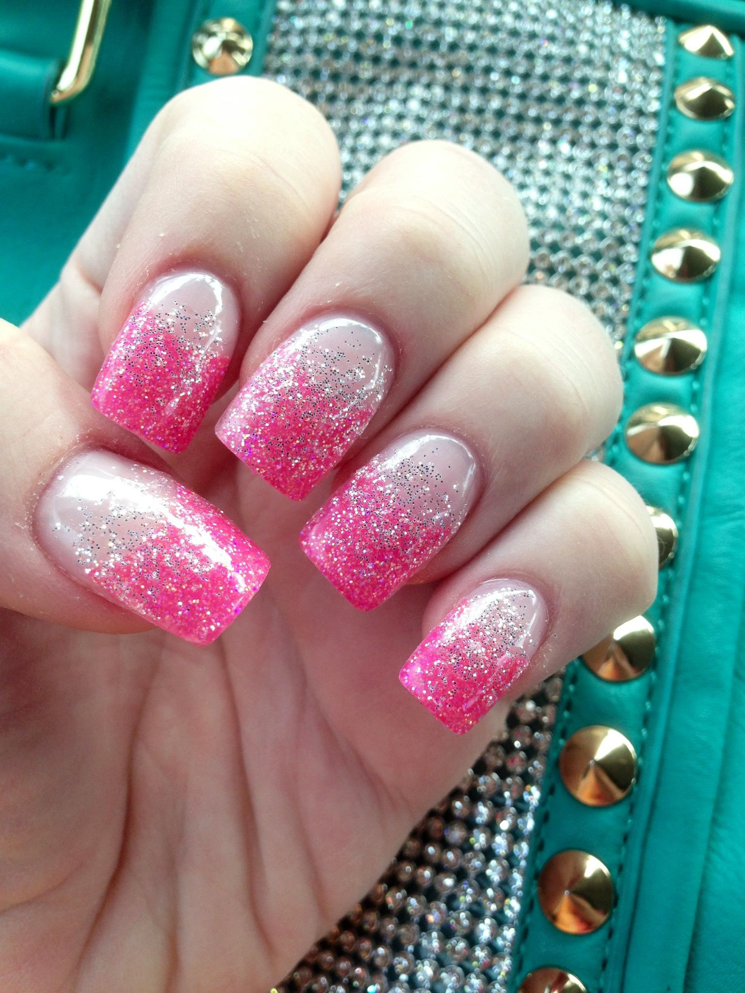 Gel Glitter Nails  Pink tips with silver glitter gel nails With images