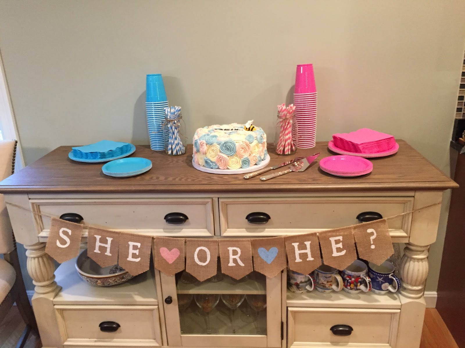 Gender Release Party Ideas  Shimmering Image A Pink Blue and Burlap Gender Reveal