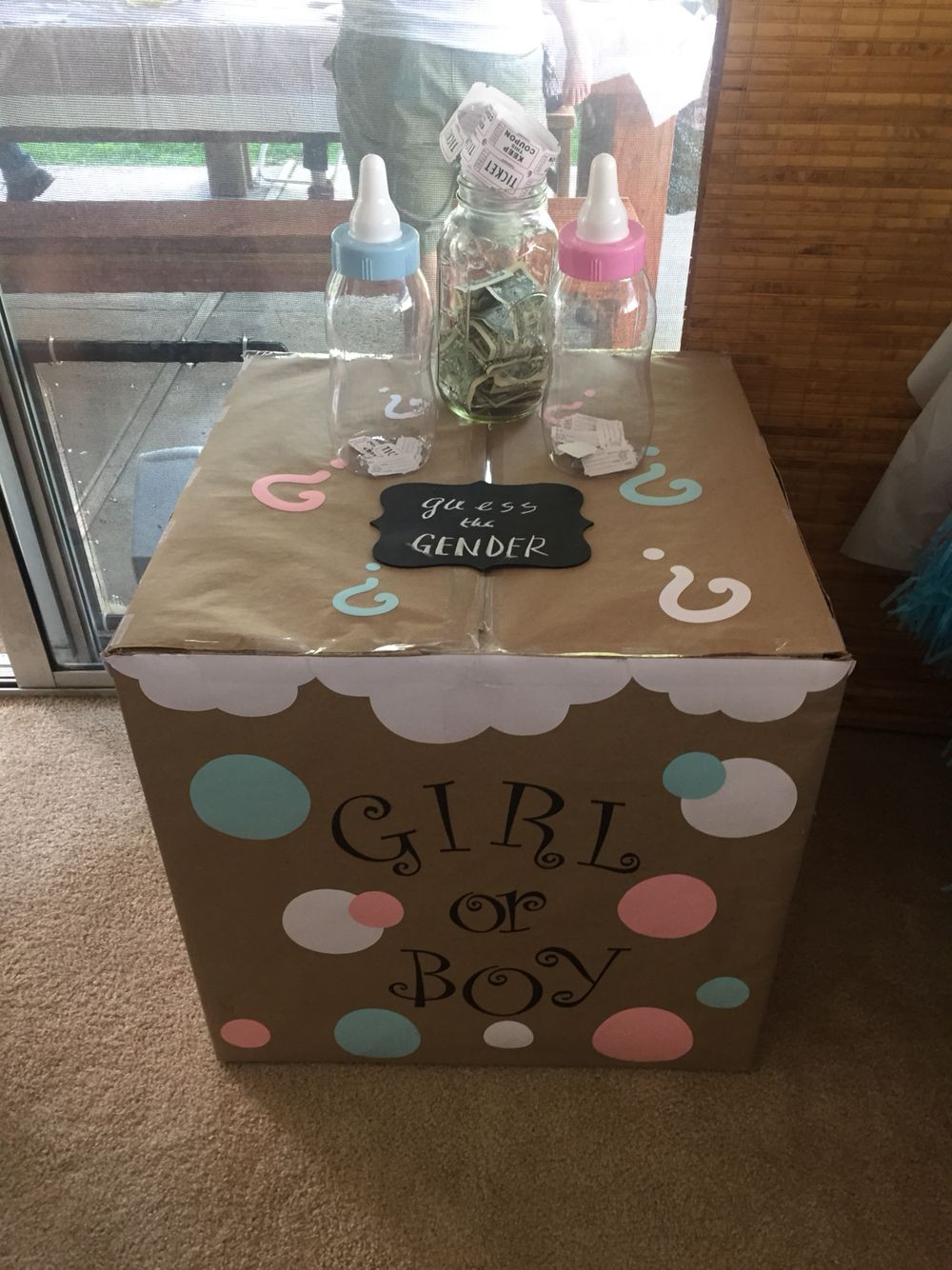 Gender Release Party Ideas  Gender reveal party box used for balloon release and