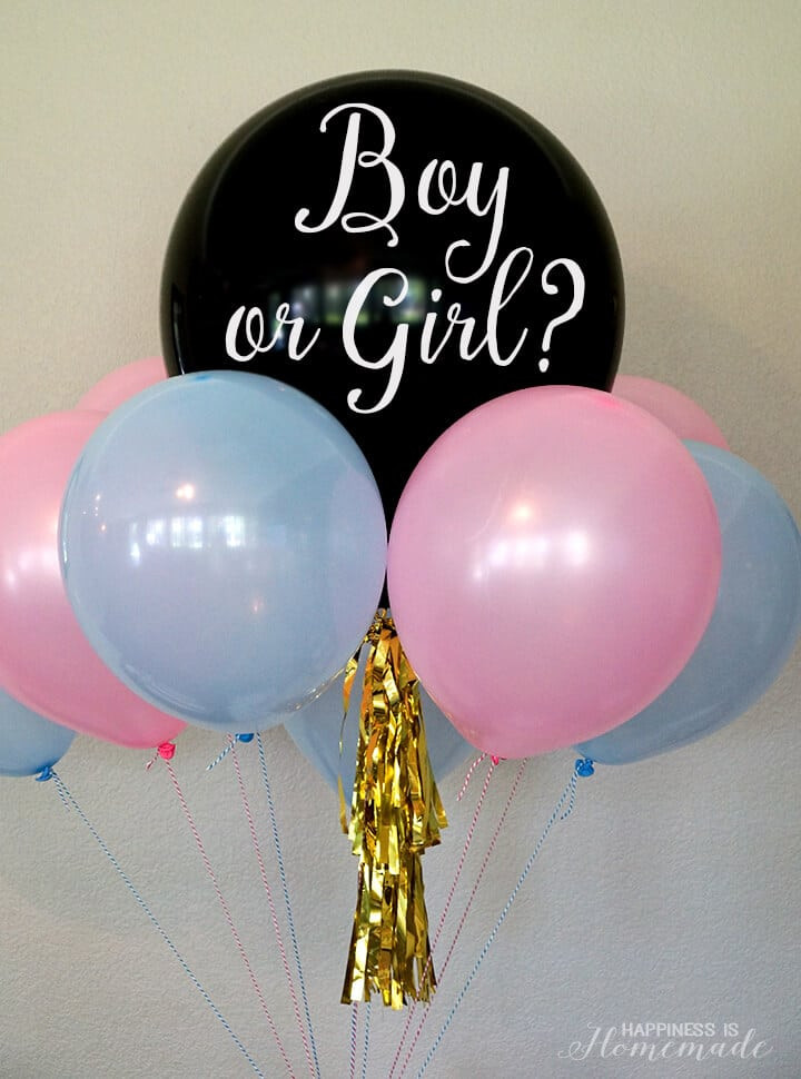 Gender Reveal Party Ideas Balloons  Baby Gender Reveal Party Ideas Happiness is Homemade