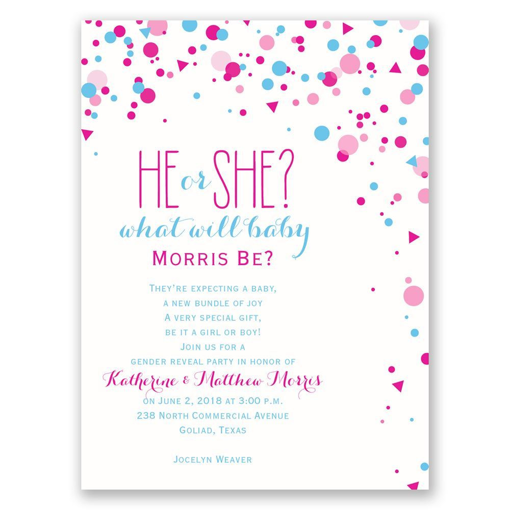 Gender Reveal Party Invitation Ideas  Pretty Confetti Petite Gender Reveal Invitation