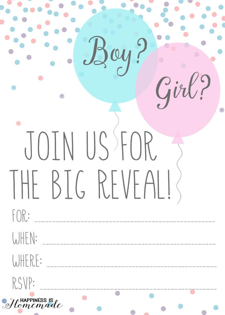 Gender Reveal Party Invitation Ideas  Baby Gender Reveal Party Ideas Happiness is Homemade