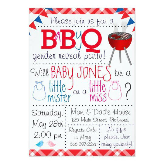 Gender Reveal Party Invitation Ideas  Baby Q Gender Reveal Party Invitation