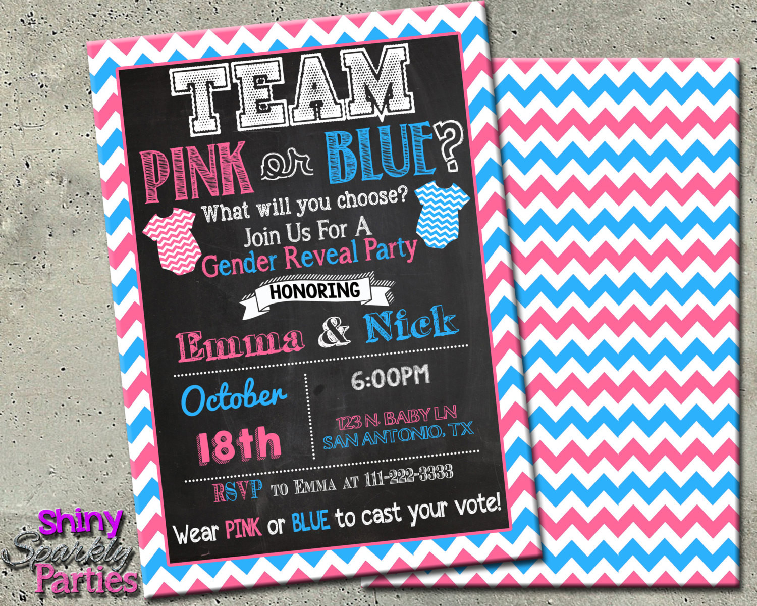 Gender Reveal Party Invitation Ideas  GENDER REVEAL INVITATION Team Pink or Blue Gender Reveal