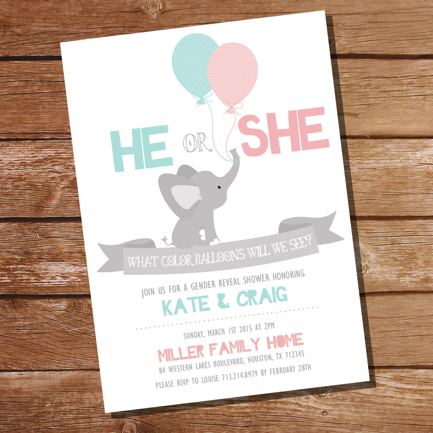 Gender Reveal Party Invitation Ideas  He or She Gender Reveal Party Invitation Elephant Gender