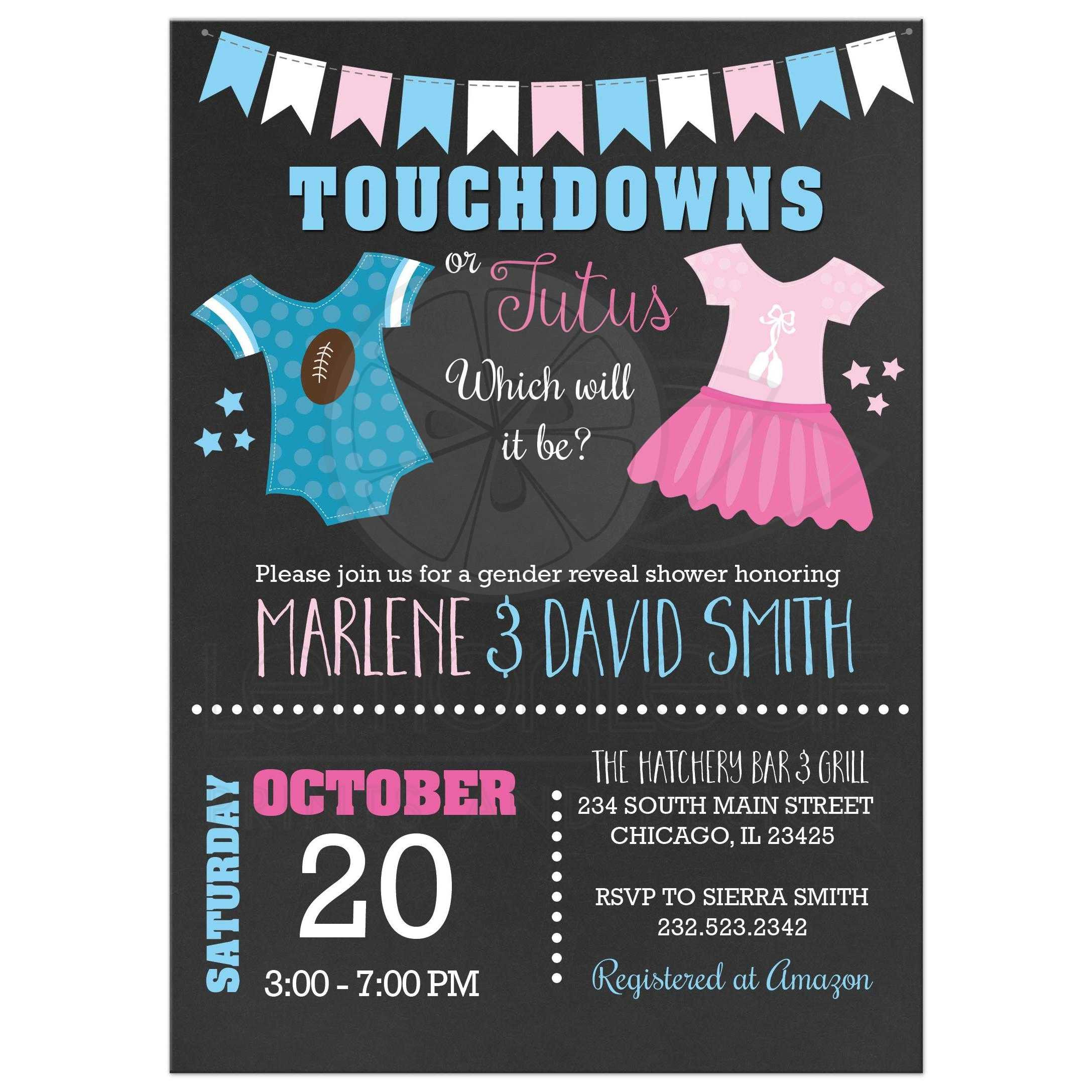 Gender Reveal Party Invitation Ideas  Touchdowns or Tutus Gender Reveal Baby Shower Invitations