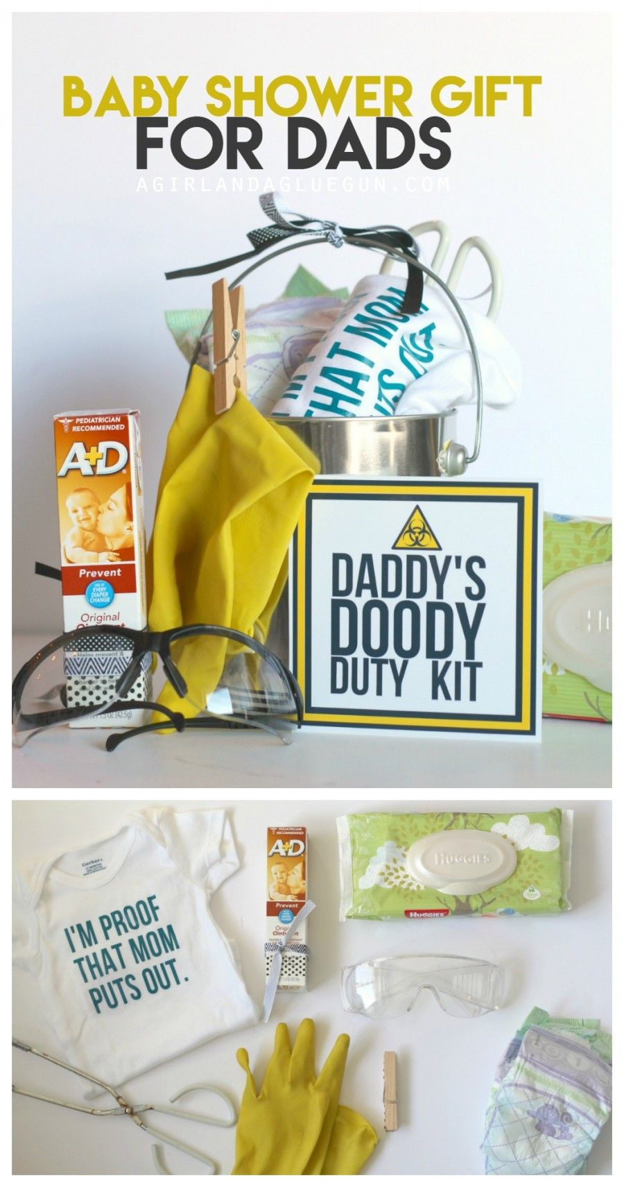 Gift Ideas For Dad From Baby Girl  funny baby shower t Daddy doody duty kit