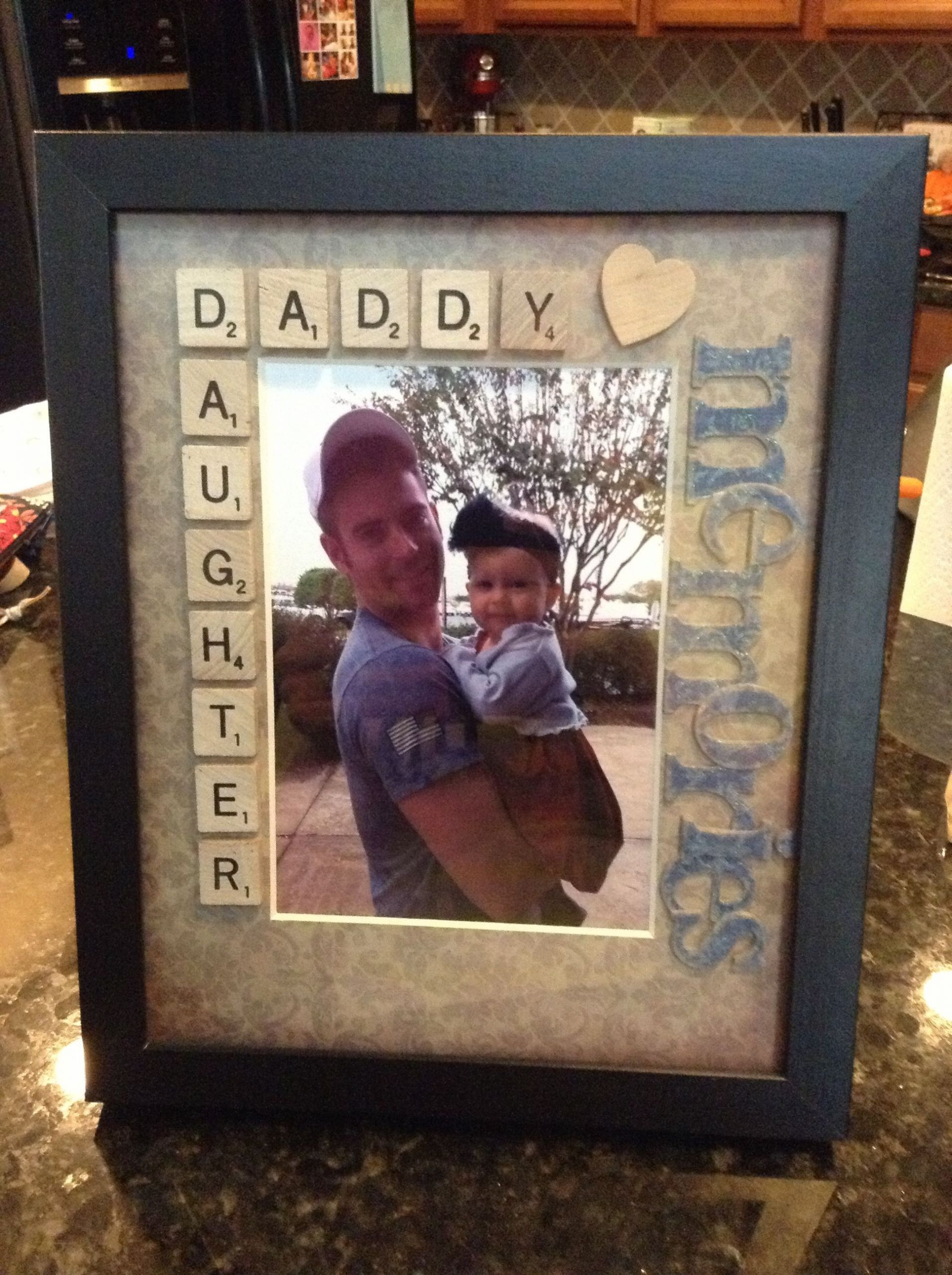Gift Ideas For Dad From Baby Girl  daddy daughter scrabble tiles picture frame