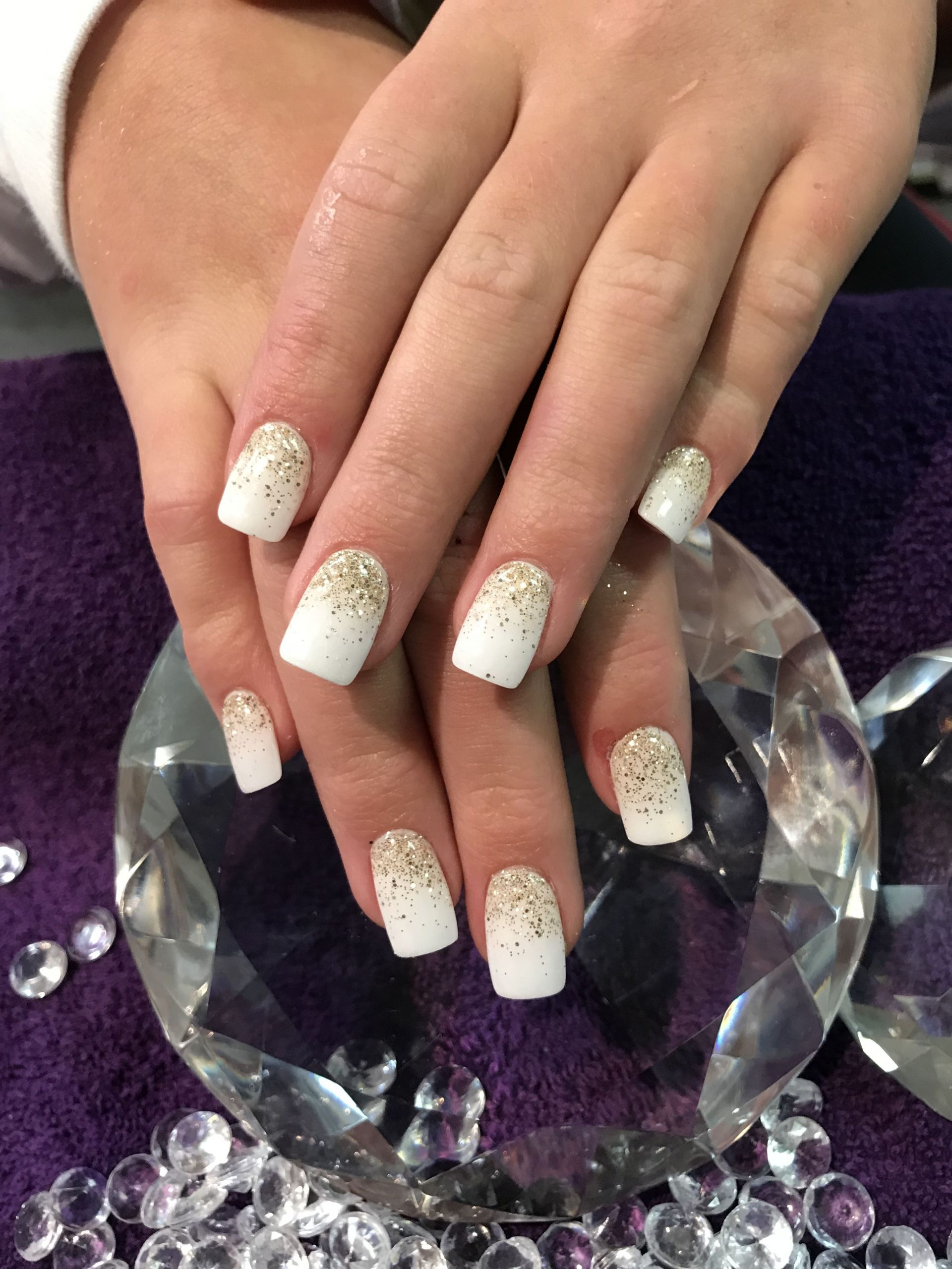 Glitter Dip Nails  White dip nails with gold glitter fade