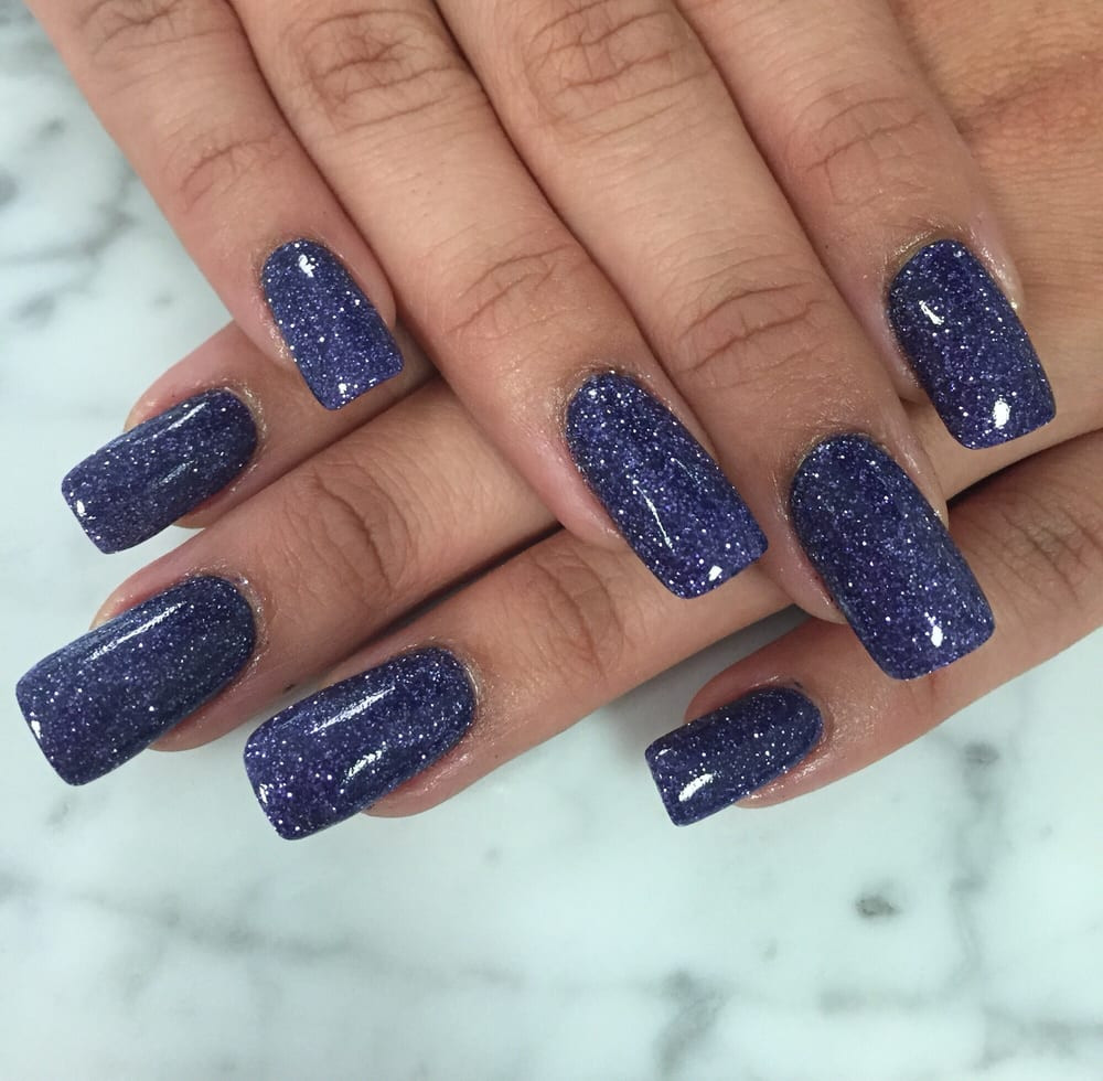 Glitter Dip Nails  Purple glitter SNS dip powder nails Love the concept and