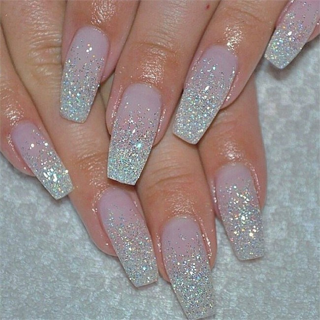 Glitter Gel Nails Pictures  25 Trendy Glamorous Ombre & Glitter Nail Designs – Fashonails