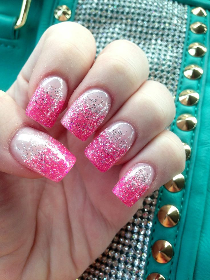 Glitter Gel Nails Pictures  Pink tips with silver glitter gel nails With images
