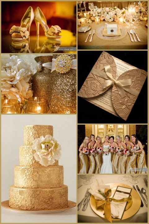 Gold Themed Wedding  Inspirations Gold Glitz and Glam