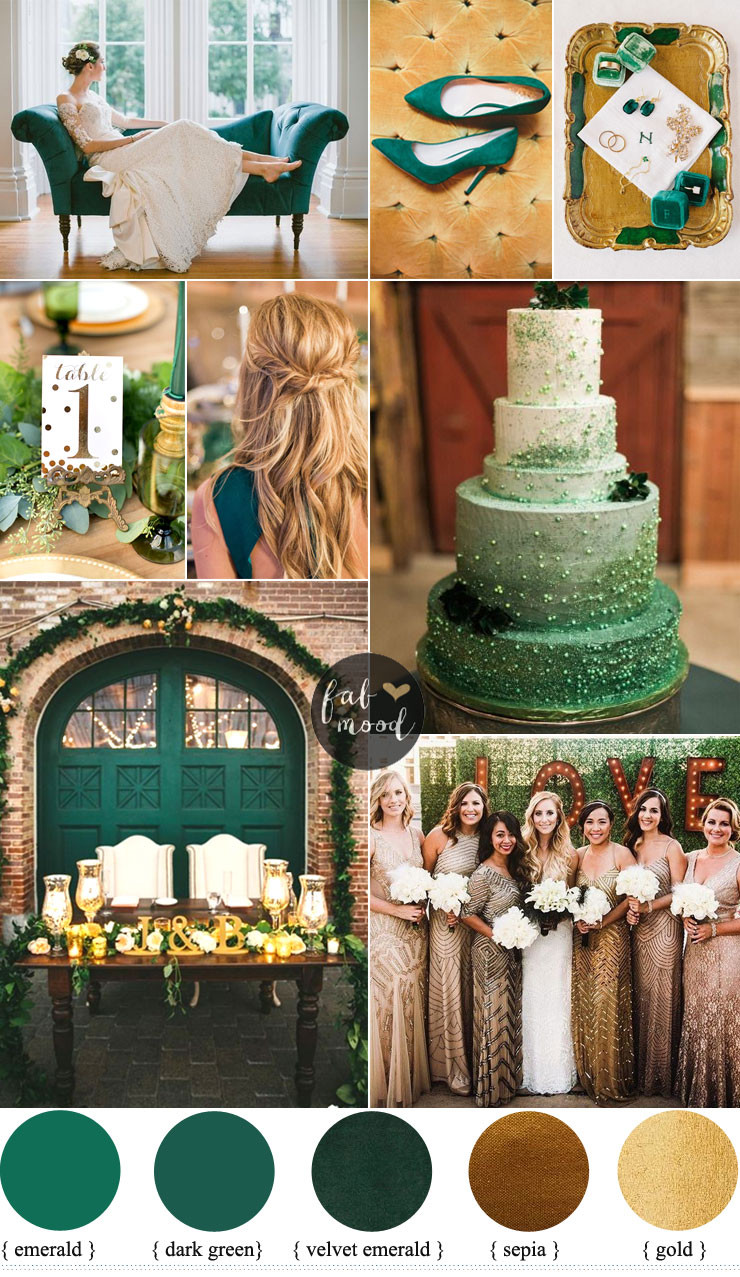 Gold Themed Wedding  Emerald and Gold Wedding Colour for Vintage Wedding Theme
