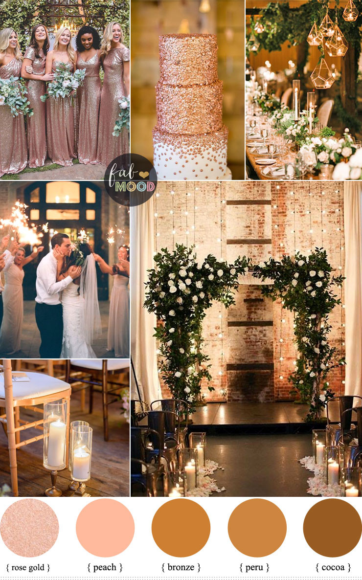 Gold Themed Wedding  Rose gold wedding colour for industrial wedding Warehouse