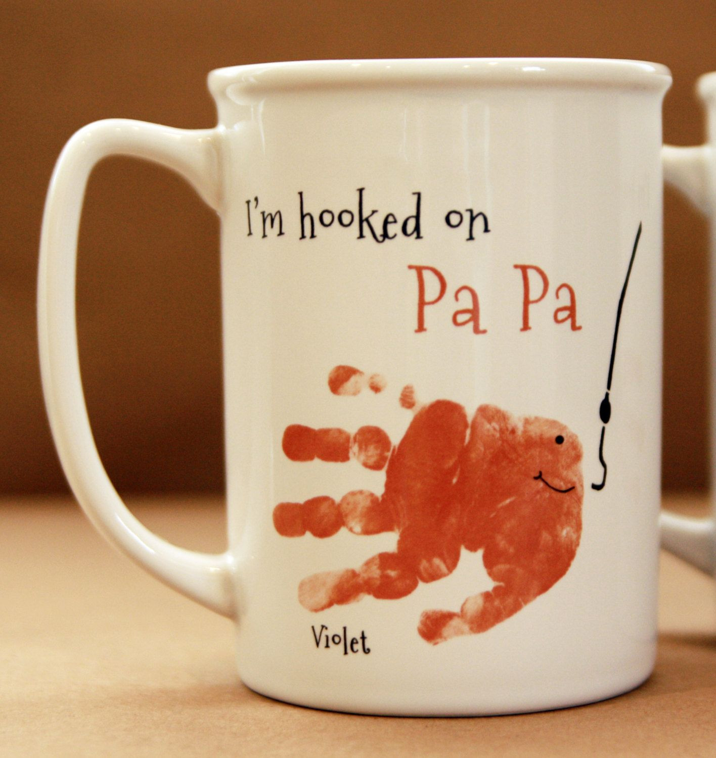 Grandpa Gift Ideas From Baby  Your child s actual prints Daddy and Grandpa Mug for