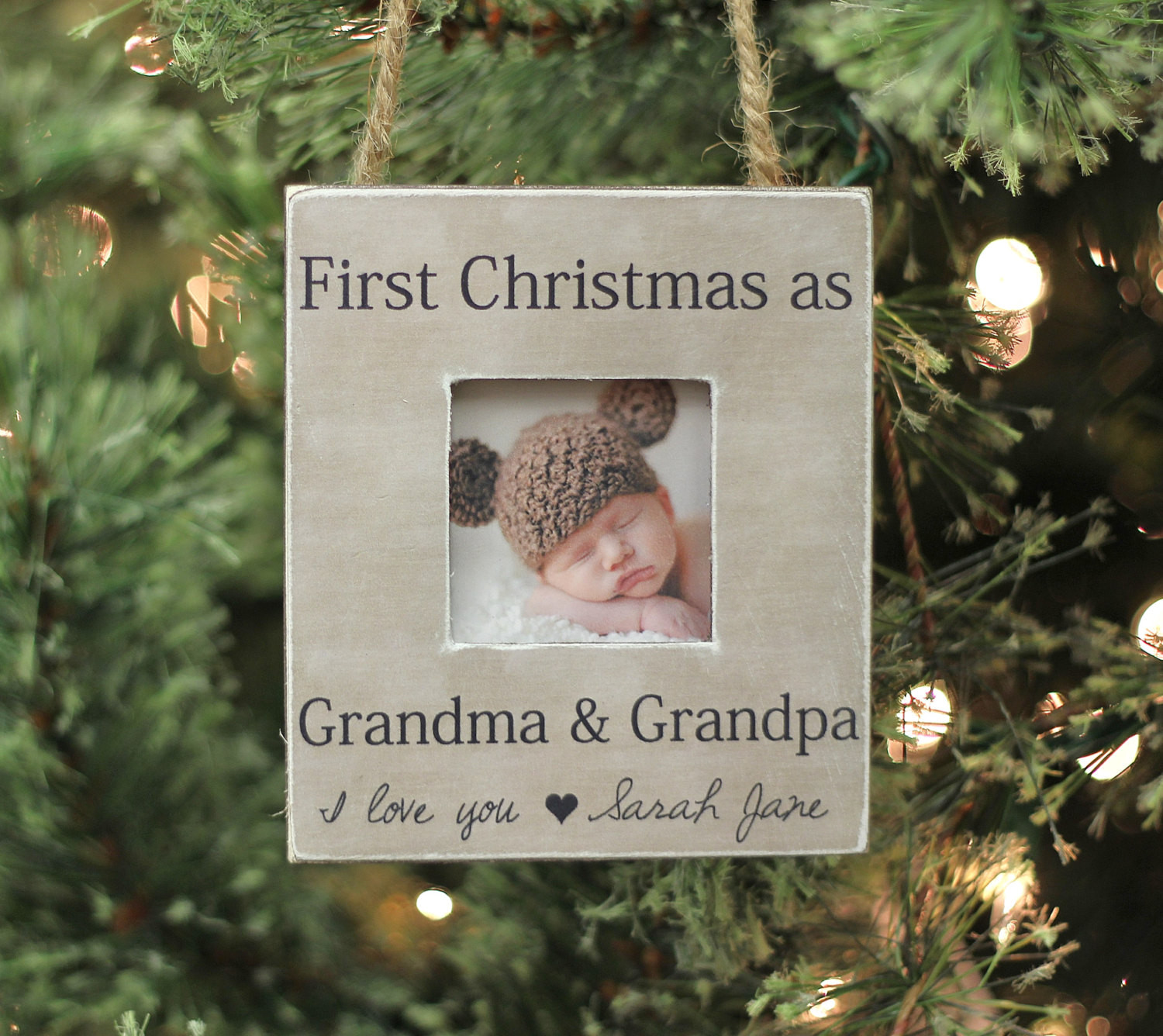 Grandpa Gift Ideas From Baby  Grandparents Ornament Christmas GIFT Personalized