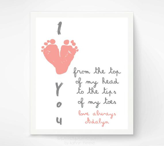 Grandpa Gift Ideas From Baby  Gift for Grandparents I Love You Baby by PitterPatterPrint