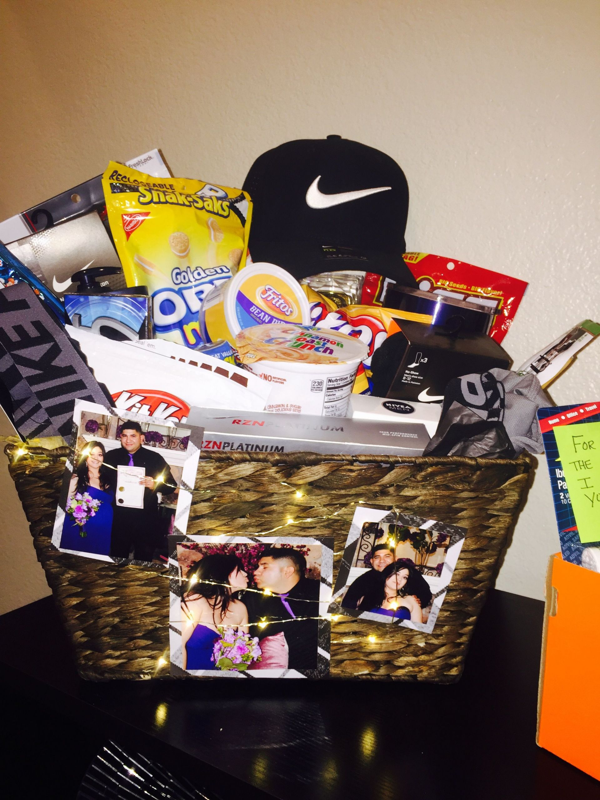 Great Gift Ideas For Boyfriend  Anniversary t basket I put to her for my husband full