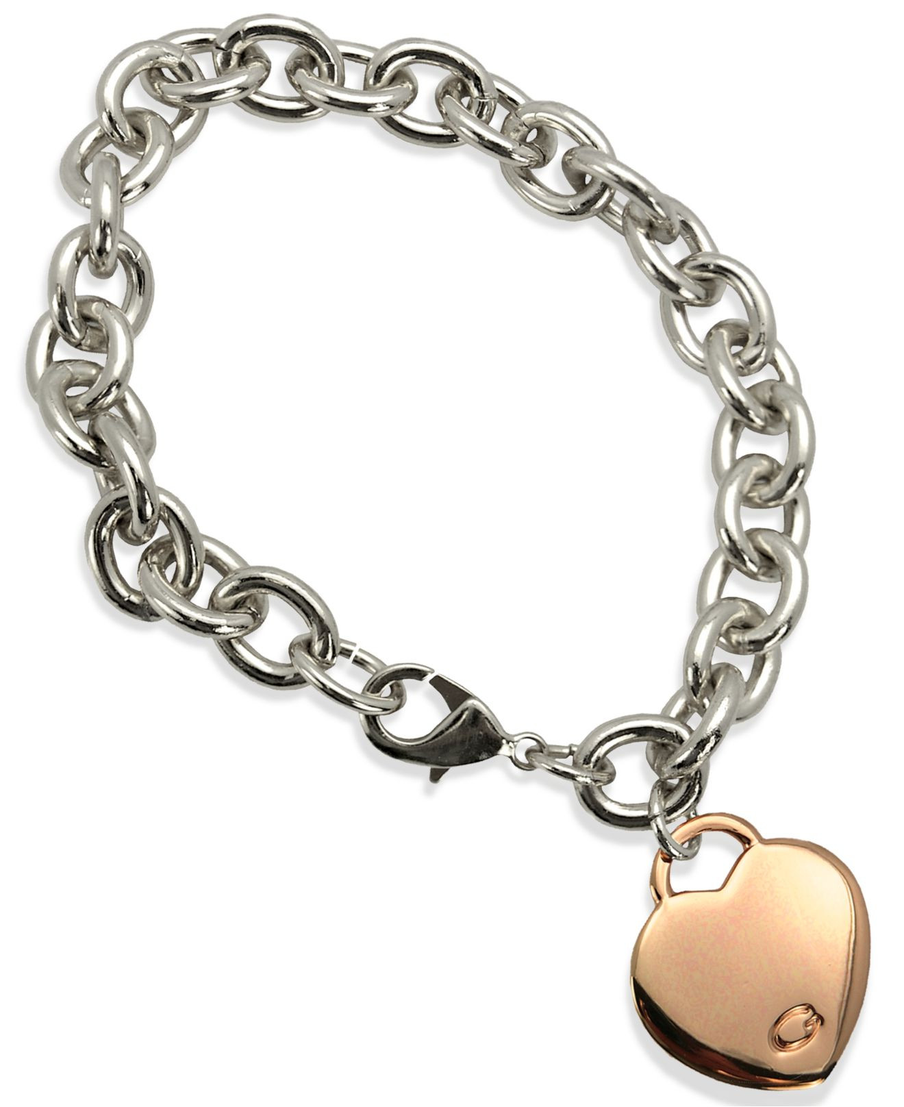 Guess Charm Bracelet  Lyst Guess Two tone Heart Charm Link Bracelet in Pink