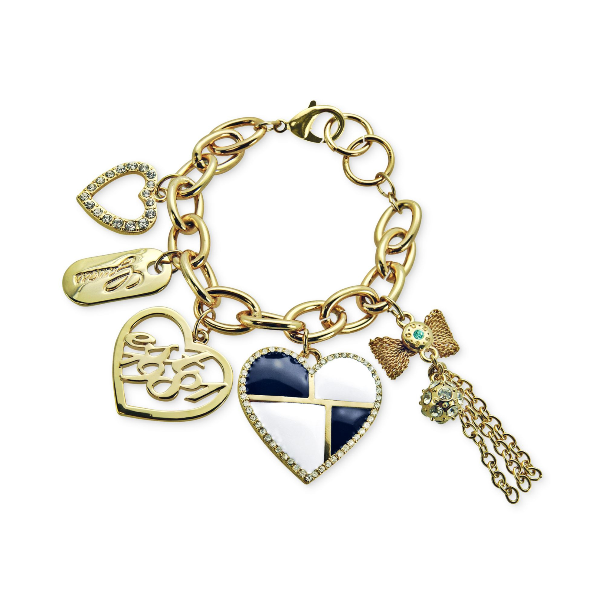 Guess Charm Bracelet  Guess Goldtone Heart and Logo Charm Bracelet in Gold No