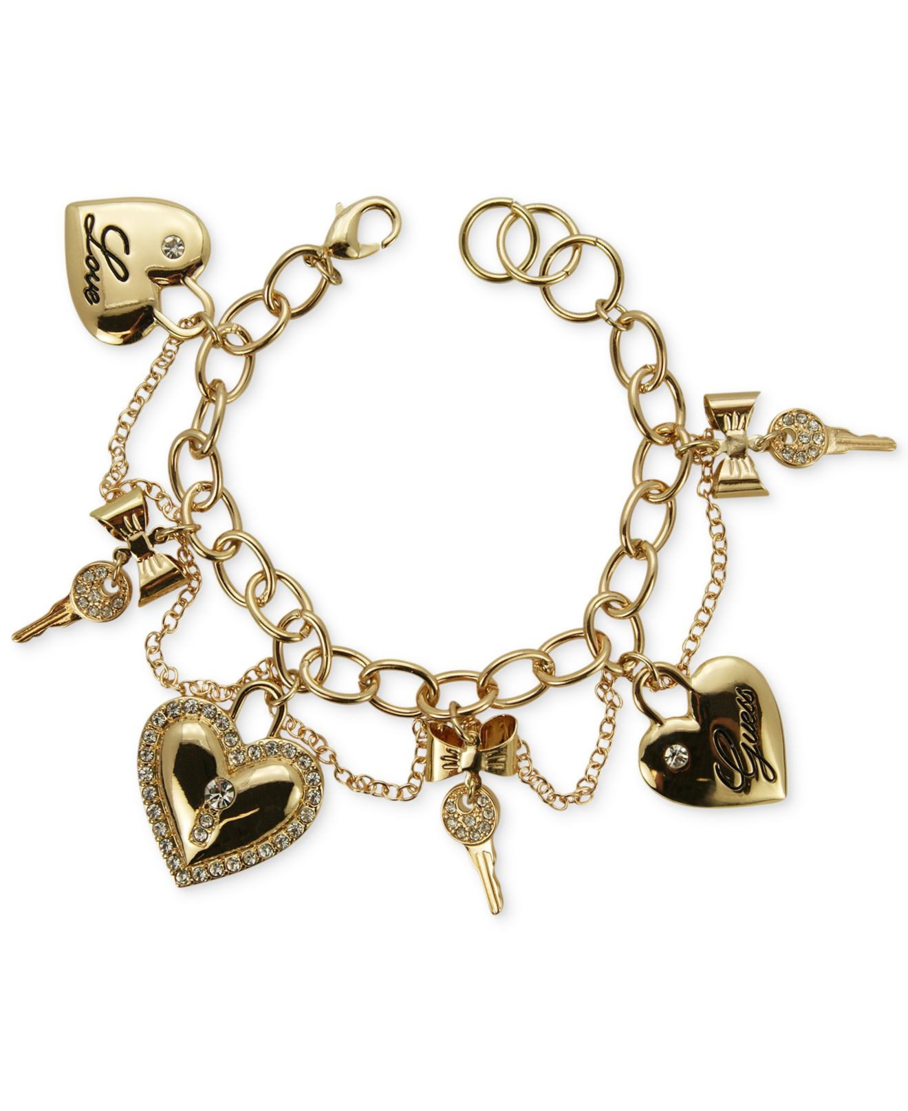 Guess Charm Bracelet  Lyst Guess Gold Tone Heart And Key Charm Bracelet in