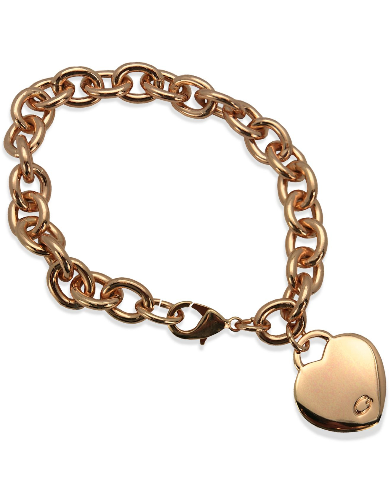 Guess Charm Bracelet  Lyst Guess Rose Gold tone Heart Charm Link Bracelet in Pink