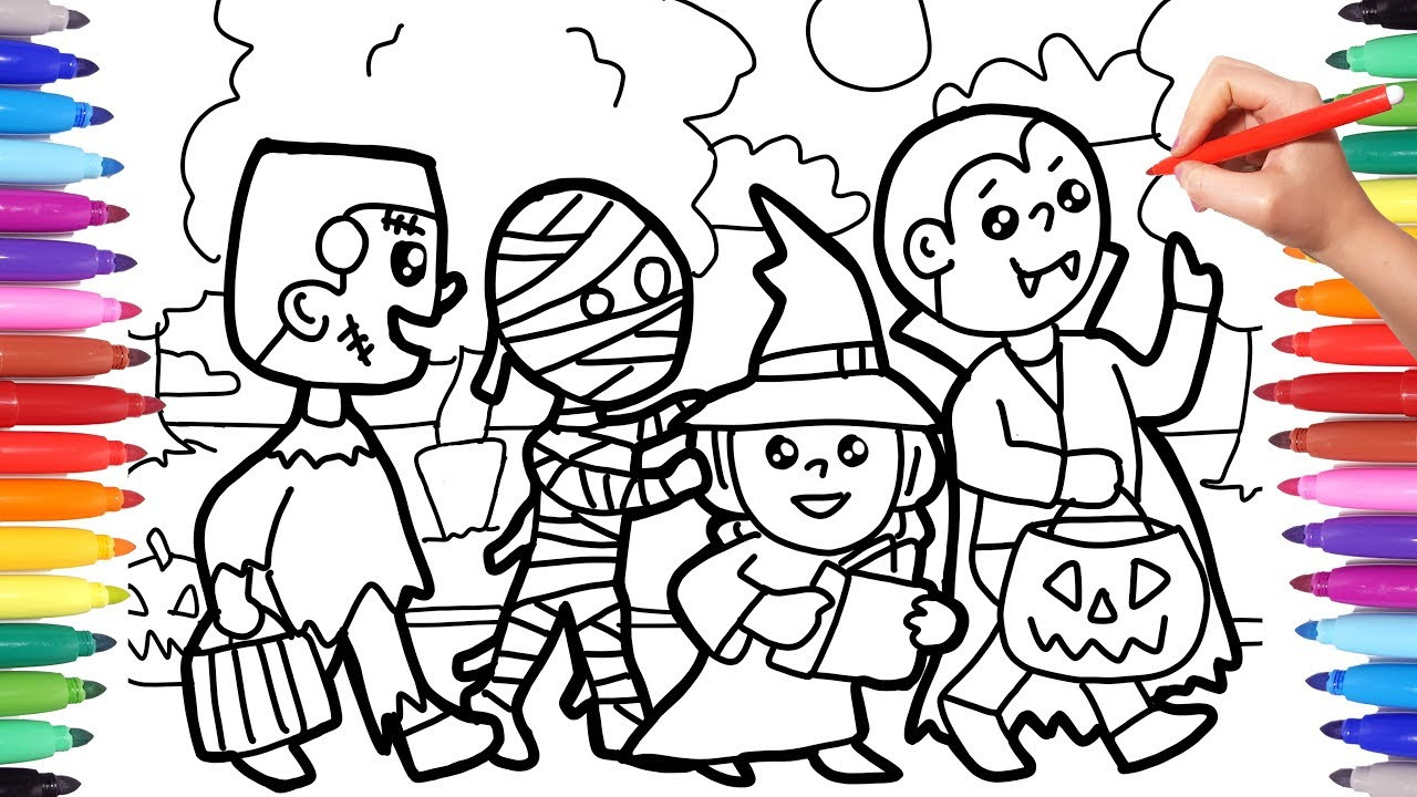 Halloween Coloring Sheets For Kids  Halloween Coloring Pages for Kids Trick or Treat Coloring
