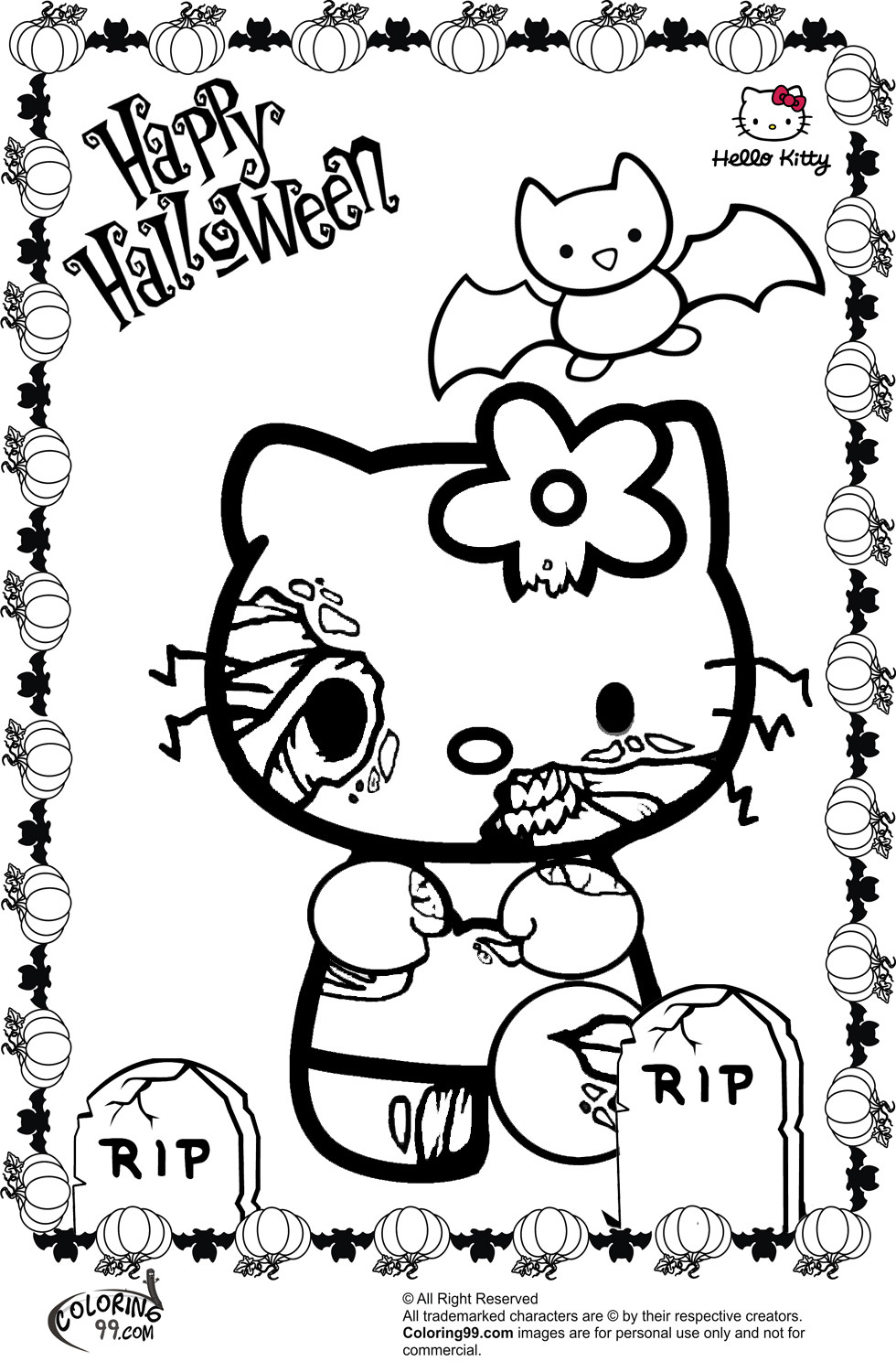 Halloween Coloring Sheets For Kids  Hello Kitty Halloween Coloring Pages