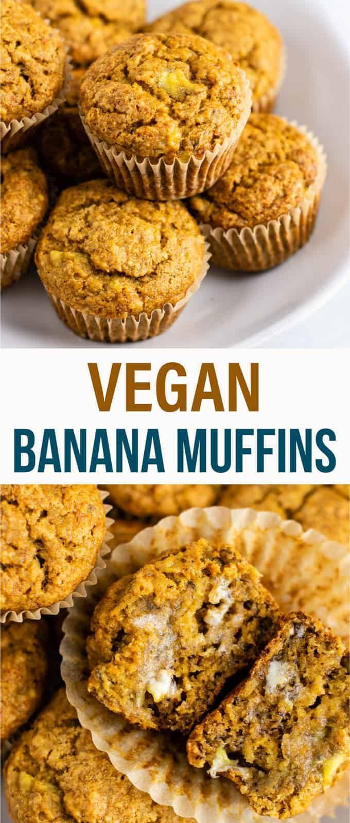 Healthy Banana Muffins With Applesauce  Healthy and easy vegan banana muffins recipe with