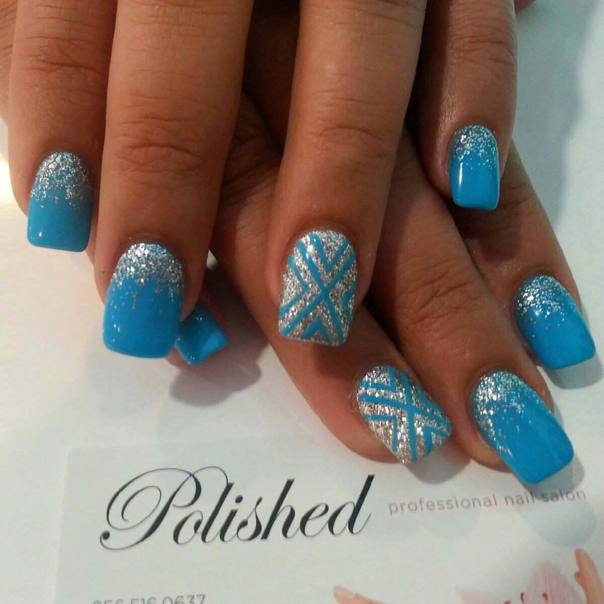 How To Do Glitter Acrylic Nails  Gel polish on top of acrylic nails Love the blue with the