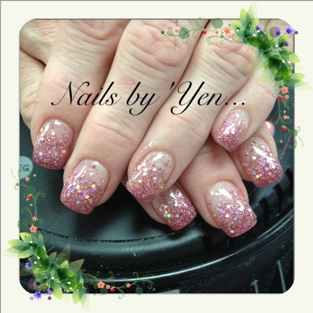 How To Do Glitter Acrylic Nails  Rose sparkle and glitter acrylic