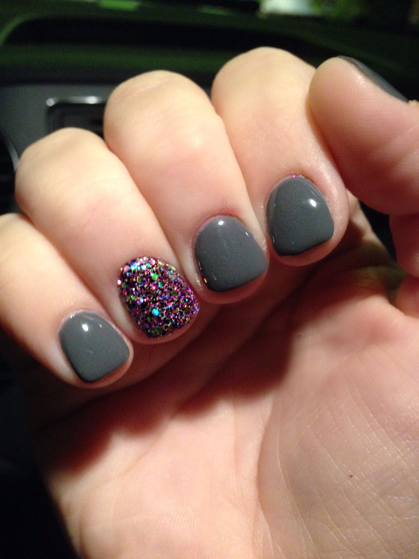 How To Do Glitter Acrylic Nails  Grey and glitter nail art nailart gelmanicure greynails