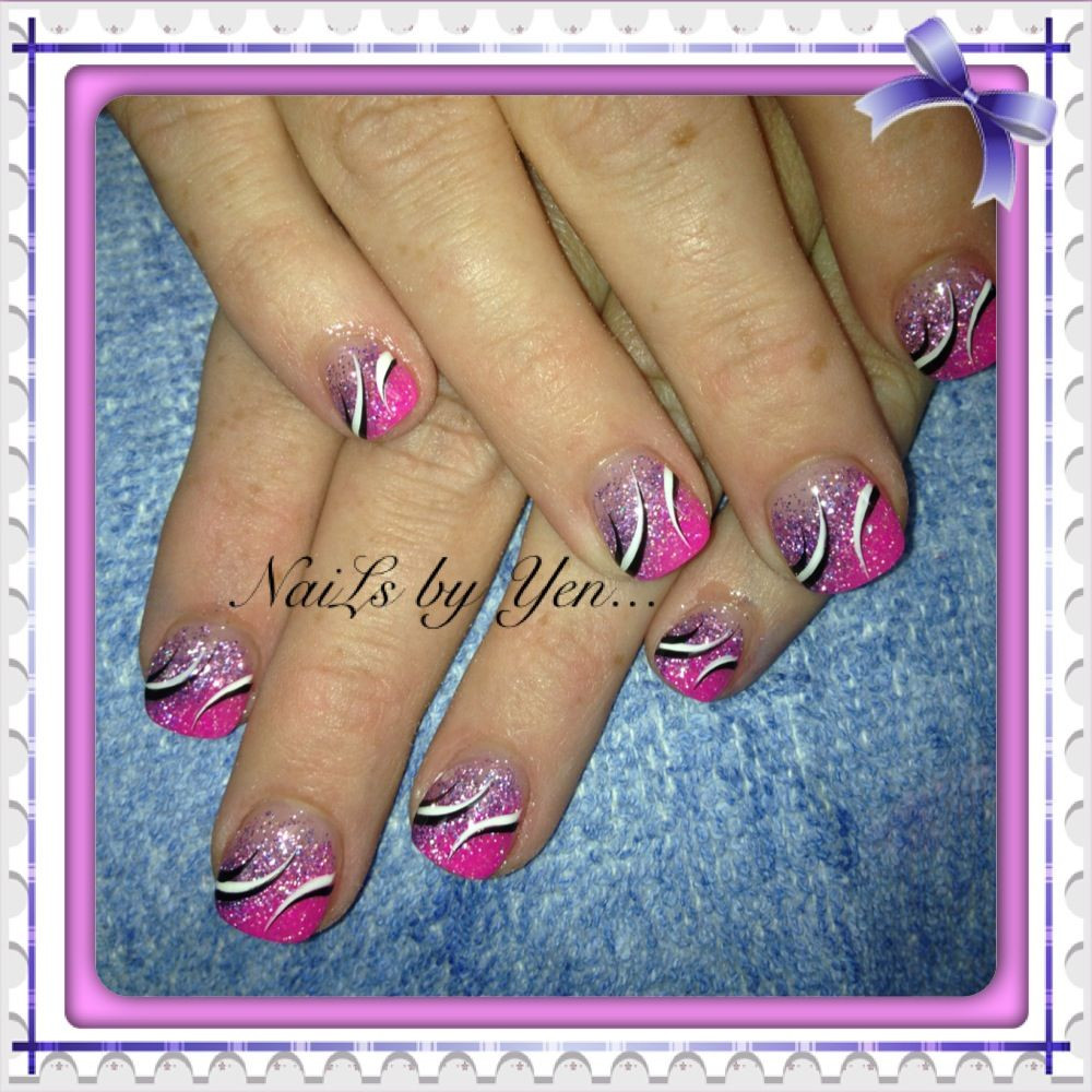 How To Do Glitter Acrylic Nails  Pink and purple glitter acrylic gra nt