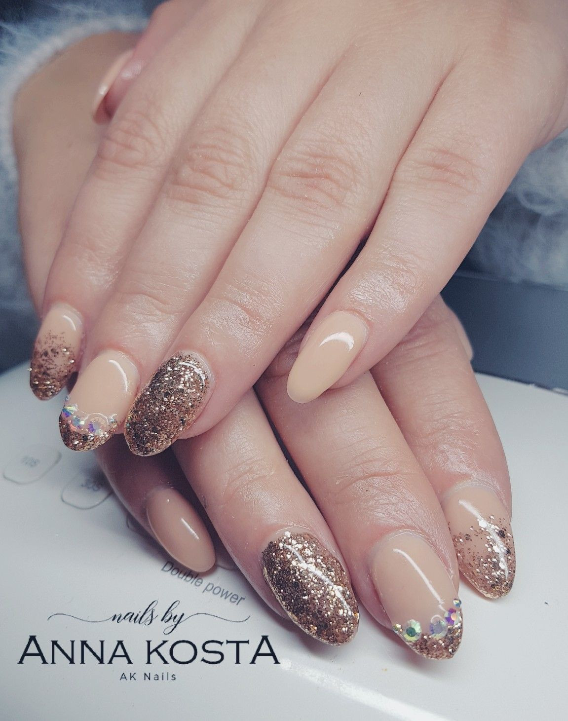 How To Do Glitter Acrylic Nails  Almomd shape acrylic infill with golden glitter and