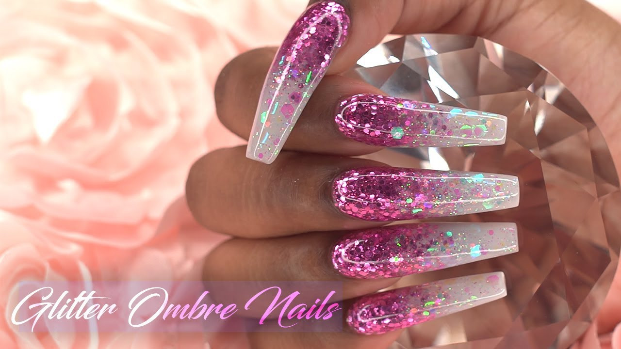 How To Do Glitter Acrylic Nails  Acrylic Nails Tutorial How to Encapsulated Nails Pink