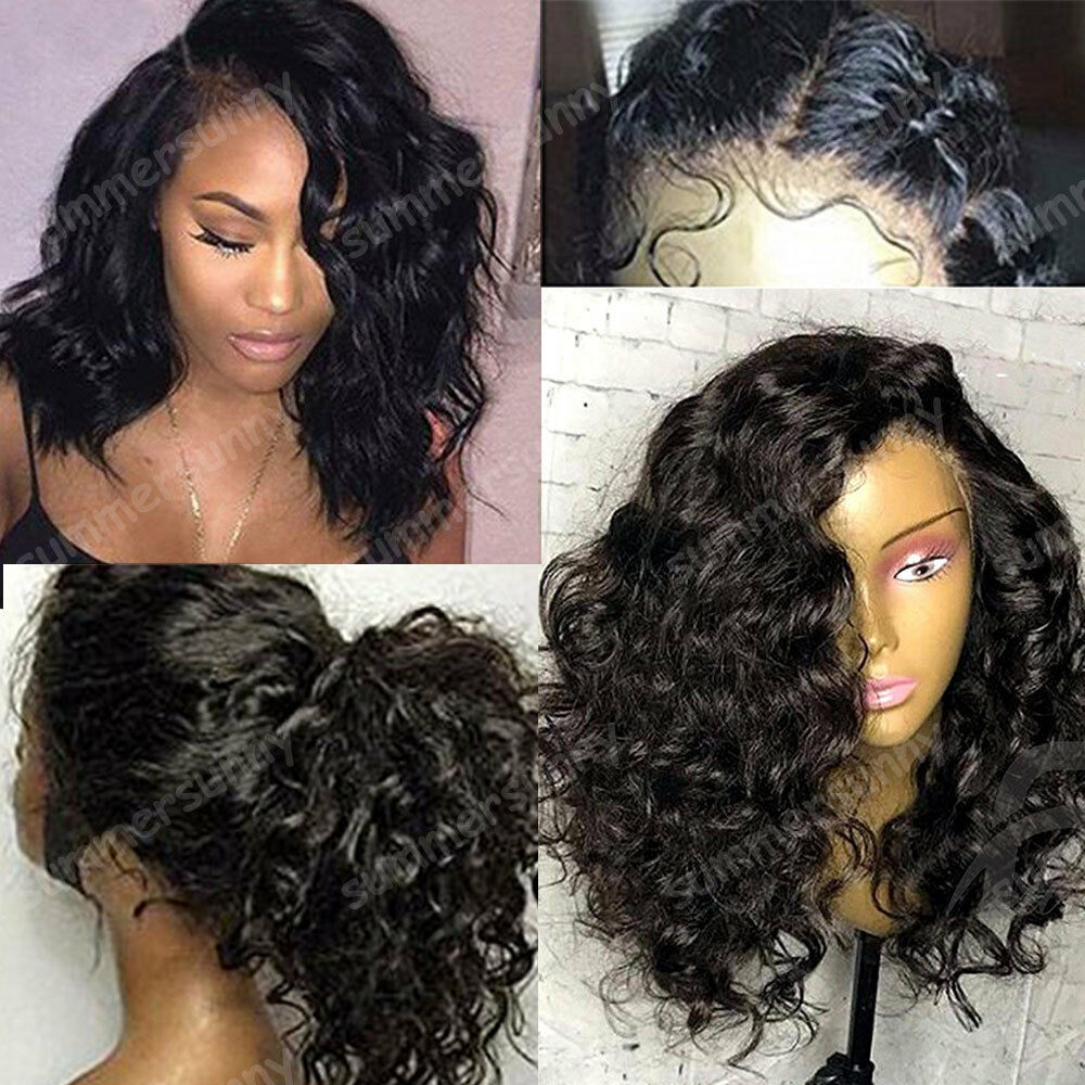 Human Hair Lace Front Wigs With Baby Hair  Malaysian Virgin Human Hair Curly Wavy Lace Front Wig Full